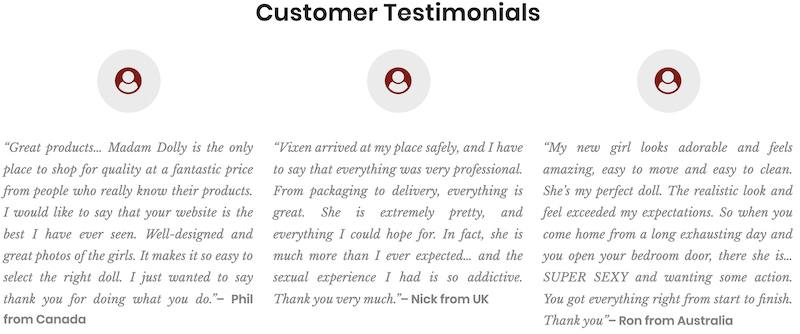 madam dolly customer testimonials