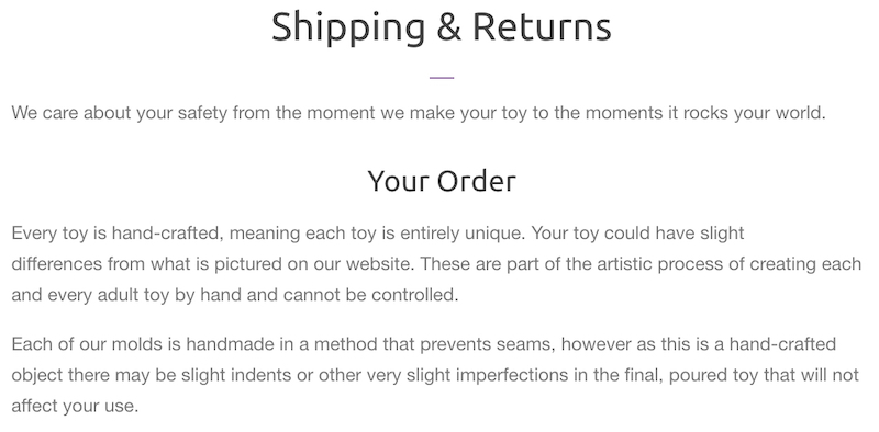 lust arts shipping policy