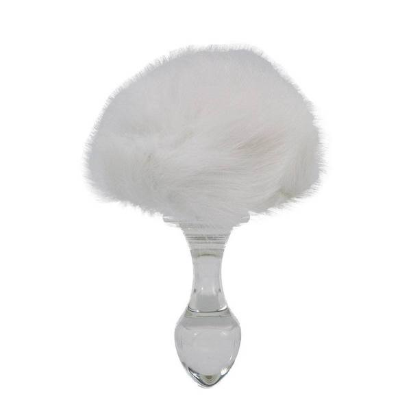 Crystal Delights - Magnetic Bunny Tail Glass Butt Plug