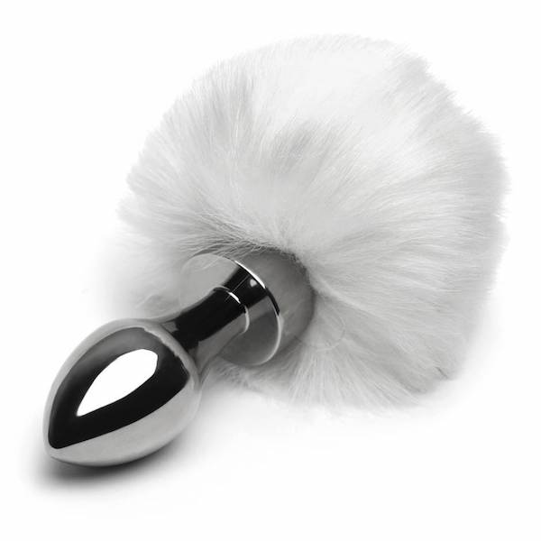 Easy Toys - Small Aluminum Faux Fur Bunny Tail Butt Plug